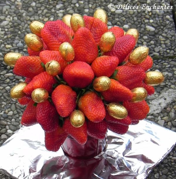 Nouvel Pâques – Bouquet de fraises – Délices Enchantés GA-23